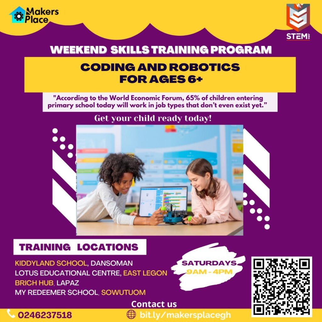 Makersplace weekend skills training program in coding and robotics for children/kids from 6years to 17 years